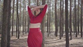 Portret jonge vrouw in rode kleding die in het boslandschap dansen Dame wat betreft een boom Concept vrouwelijke tederheid stock video