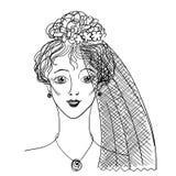 Portret joven de la novia Mano escrita Imagenes de archivo