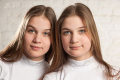 Portret jumeau de soeurs Photographie stock