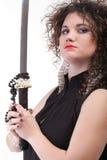 Portret kędzierzawej kobiety kędzierzawa dziewczyna i kordzik Fotografia Royalty Free
