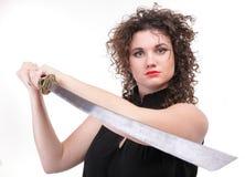 Portret kędzierzawej kobiety kędzierzawa dziewczyna i kordzik Fotografia Stock