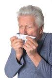 Portret kasłać starszego mężczyzna Zdjęcie Royalty Free