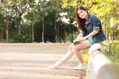 Portret kobiet drogi plenerowa strona Zdjęcie Stock