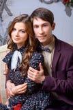 Portret kobieta blisko choinki i mężczyzna Obraz Royalty Free