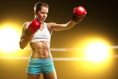 Portret kobieta bokser Zdjęcie Royalty Free