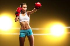 Portret kobieta bokser Zdjęcia Stock