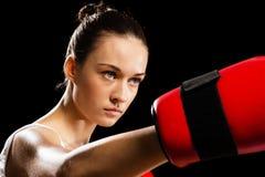 Portret kobieta bokser Fotografia Royalty Free