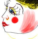 portret kobieta, jest ubranym czarnego kapelusz Obrazy Royalty Free