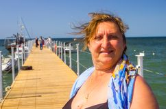 Portret kobieta na morzu Obraz Stock