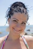 Portret kobieta przy morzem Obrazy Royalty Free