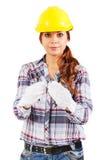 Portret kobieta w budów rękawiczkach i hełmie Obraz Stock