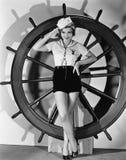 Portret kobieta w żeglarza kostiumu (Wszystkie persons przedstawiający no są długiego utrzymania i żadny nieruchomość istnieje Do Zdjęcie Stock