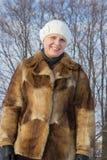Portret kobieta w futerku Obrazy Stock