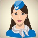 Portret kobieta w stewardesa mundurze Ilustracji