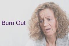 Portret kobieta z depresją out i oparzenie zdjęcie stock