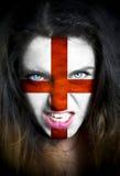 Portret kobieta z flaga Anglia malował na ona Obrazy Royalty Free