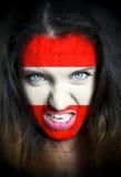 Portret kobieta z flaga Austria malował na ona Obraz Stock