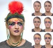 Portret kobieta z jaskrawym kreatywnie makeup w art deco stylu krok po kroku Zdjęcia Stock