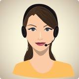 Portret kobieta z słuchawki Royalty Ilustracja