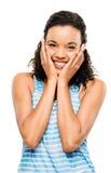 Portret kobiety Piękny afrykański ono Uśmiecha się odizolowywam na białym backg zdjęcie stock