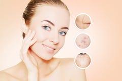 Portret kobiety twarz z graficznymi okręgami ols skóra dla adve Obraz Stock