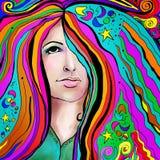 portret kolorowa kobieta ilustracji