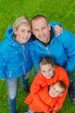 Portret kolorowa rodzina od odgórnego widoku Fotografia Stock