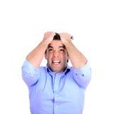 Portret krańcowy gniewny biznesmena ciągnięcia włosy i screamin Zdjęcia Stock