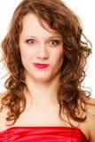 Portret krullende vrouw die grappig dwaas gezicht maken Meisje die pret doen Stock Afbeeldingen