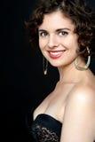 Portret śliczny moda model z opromienionym uśmiechem Zdjęcia Stock