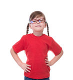 Portret of little cute girl wearing glasses Royalty Free Stock Images