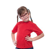 Portret of little cute girl wearing glasses Stock Photo