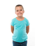 portret of little girl wearing turquoise t-shirt Royalty Free Stock Photography