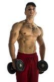 Portret mężczyzna udźwigu mięśniowi ciężary Obrazy Stock