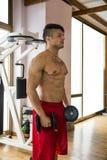 Portret mężczyzna udźwigu mięśniowi ciężary przy gym Fotografia Stock