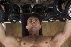 Portret mężczyzna udźwigu mięśniowi ciężary przy gym Zdjęcie Stock
