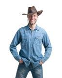 Portret mężczyzna z kowbojskim kapeluszem odizolowywającym na białym tle ilustracji