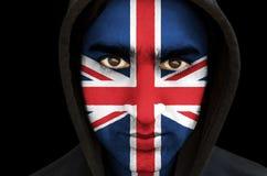 Portret mężczyzna z zrzeszeniowej dźwigarki flaga twarzy farbą Zdjęcie Stock
