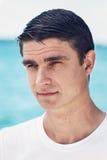 Portret męska mężczyzna twarz outside wodnym zbliżeniem Obraz Royalty Free