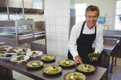 Portret męska szefa kuchni garnirowania zakąska w talerzu Obraz Royalty Free