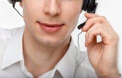 Portret męski obsługa klienta przedstawiciel, centrum telefoniczne lub Fotografia Royalty Free