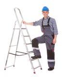 Portret Męski pracownik Z drabiną Obrazy Royalty Free