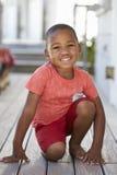 Portret Męski uczeń Na zewnątrz sala lekcyjnej Przy Montessori szkołą fotografia stock