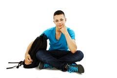 Portret męski uczeń z szkolną torbą Obrazy Royalty Free