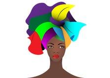 Portret młoda Afrykańska kobieta w kolorowym turbanie Opakunku Afro moda, Ankara, Kente, kitenge, Afrykańskie kobiety ubiera Zdjęcia Stock