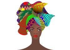 Portret młoda Afrykańska kobieta w kolorowym turbanie Opakunku Afro moda, Ankara, Kente, kitenge, Afrykańskie kobiety ubiera Fotografia Stock