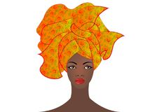 Portret młoda Afrykańska kobieta w kolorowym turbanie Opakunku Afro moda, Ankara, Kente, kitenge, Afrykańskie kobiety ubiera Obrazy Stock