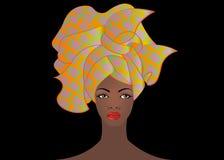 Portret młoda Afrykańska kobieta w kolorowym turbanie Opakunku Afro moda, Ankara, Kente, kitenge, Afrykańskie kobiety ubiera Zdjęcie Royalty Free