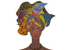 Portret młoda Afrykańska kobieta w kolorowym turbanie Opakunku Afro moda, Ankara, Kente, kitenge, Afrykańskie kobiety ubiera zwie Obraz Stock