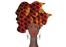 Portret młoda Afrykańska kobieta w kolorowym turbanie Opakunku Afro moda, Ankara, Kente, kitenge, Afrykańskie kobiety ubiera zwie Zdjęcia Stock